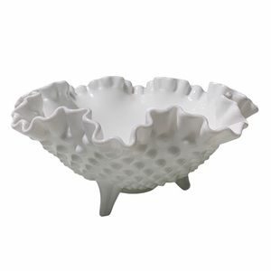 Fenton Hobail Milk Glass Candy dish footed